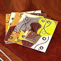 Wood placemats and coasters, 'Autumn Branches' (set for 6) - Wood placemats and coasters (Set for 6)