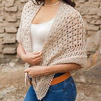 100% alpaca shawl, 'Lady of Chachapoyas' - Alpaca Wool Crocheted Shawl