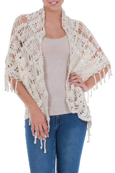 100% alpaca shawl, 'Andean Blossoms' - 100% alpaca shawl