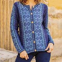 100% alpaca sweater, 'Blue Andean Poinsettia'