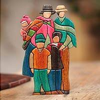 Wood sculpture, 'Andean Family' - Traditional Family Group Sculpture