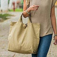 Cotton tote bag, 'Voyages in Beige' - Khaki Cotton Shoulder Bag from Peru