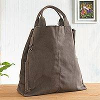 Cotton tote bag, 'Voyages in Brown' - Hand Made Cotton Shoulder Bag