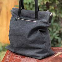 Cotton shoulder bag, 'Journey of Black' - Cotton and Leather Accent Shoulder Bag from Peru