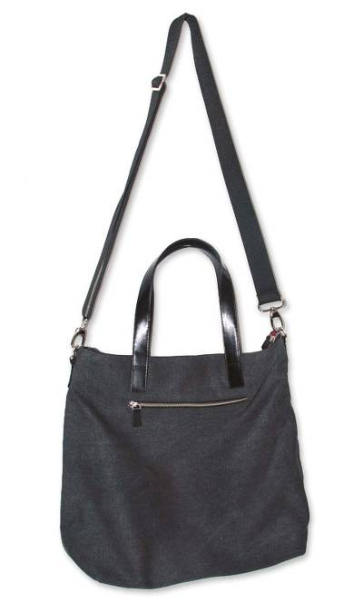 Novica Cotton shoulder bag, Journey of Black - Cotton and Leather Accent Shoulder Bag from Peru