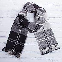 Men's 100% alpaca scarf, 'Classic Black and White' - Handcrafted Alpaca Wool Striped Black and White Scarf