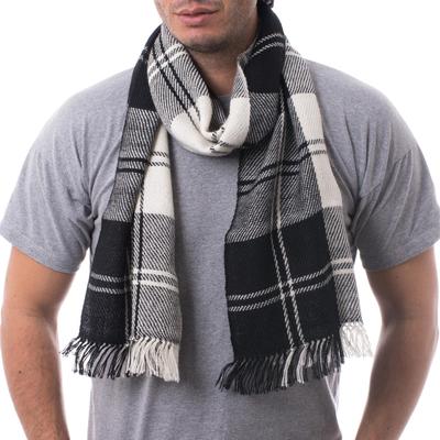 Men's 100% alpaca scarf, 'Classic Black and White' - Handcrafted Alpaca Wool Striped Black and White Scarf