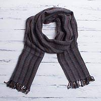 Men's 100% alpaca scarf, 'Winter Smoke' - Alpaca Wool Patterned Scarf from Peru