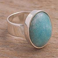Amazonite cocktail ring, 'Encounter' - Peruvian Amazonite and Sterling Silver Ring