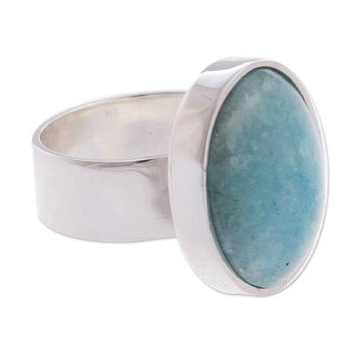 Amazonite cocktail ring, 'Encounter' - Hand Made Peruvian Sterling Silver Amazonite Cocktail Ring