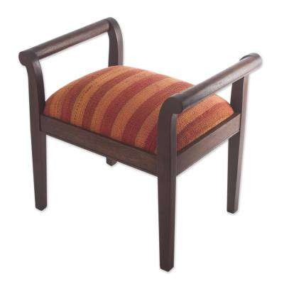 Mohena wood and wool backless chair, 'Andean Homeland' - Mohena wood and wool backless chair