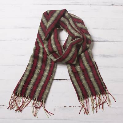 Mens 100% alpaca scarf, Winter Cheer