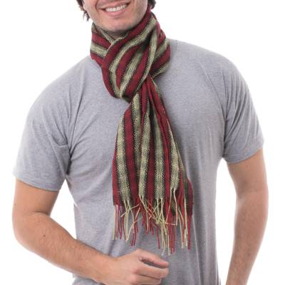 Men's 100% alpaca scarf, 'Winter Cheer' - Men's 100% alpaca scarf