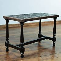 Mohena wood and leather coffee table, 'Inca Mailman' - Peruvian Hand Tooled Wood Leather Coffee Table