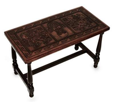 Mohena Wood And Leather Coffee Table, U0027Inca Mailmanu0027   Peruvian Hand Tooled  Wood