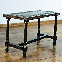 Mohena wood and leather coffee table, 'Colonial Foliage' - Wood Accent Table with Hand Tooled Leather Top