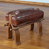 Mohena wood and leather stool, 'Inca Remembrance' - Fair Trade Traditional Leather Wood Stool