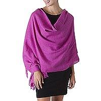 100% alpaca shawl, 'Hot Pink Spice' - Alpaca Wool Solid Shawl