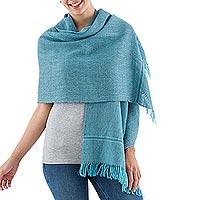100% alpaca shawl, 'Trujillo Turquoise' - Peruvian Alpaca Wool Shawl