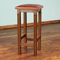 Mohena and leather bar stool, 'Andean Empress' - Fair Trade Traditional Leather Wood Brown Bar Stool