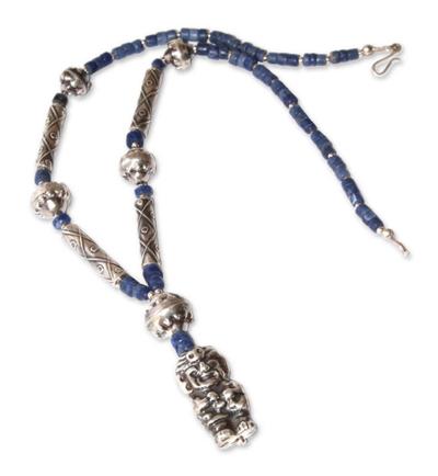 Sodalite pendant necklace, 'Tupa Yupanqui' - Sterling Silver Pendant Sodalite Necklace