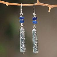 Sodalite dangle earrings, 'Tupa Yupanqui' - Fair Trade Sterling Silver and Sodalite Dangle Earrings