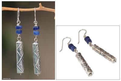 Sodalite dangle earrings, 'Tupa Yupanqui' - Fair Trade Sterling Silver and Sodalite Dangle Earrings
