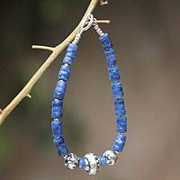 Sodalite beaded bracelet, 'Tawantinsuyo' - Sterling Silver and Sodalite Beaded Bracelet