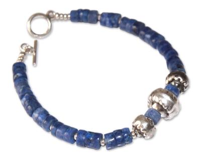 Sterling Silver and Sodalite Beaded Bracelet