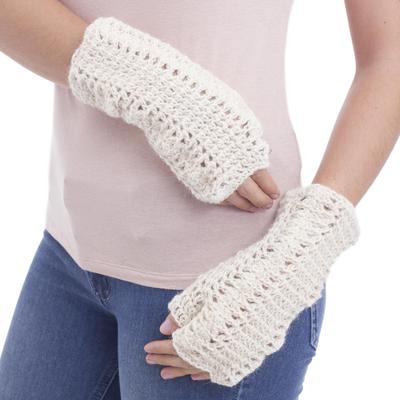 100% alpaca fingerless mitts, 'Ivory Fans' - 100% alpaca fingerless mittens