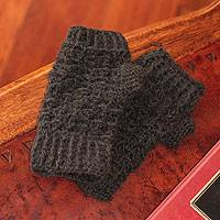 100% alpaca fingerless mittens, 'Andean Night' - Handcrafted Peruvian Alpaca Wool Fingerless Mittens