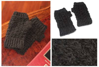 100% alpaca fingerless mitts, Andean Night