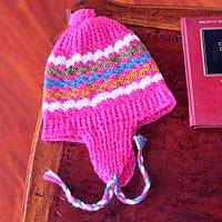 100% alpaca chullo hat, 'Rose Fiesta' - Alpaca Wool Patterned Chullo Hat