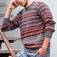 Men's 100% alpaca sweater, 'Ice Fire' - Men's Alpaca Wool Pullover Sweater