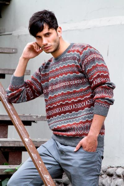 Men's 100% alpaca sweater, 'Ice Fire' - Men's Alpaca Wool Pullover Sweater