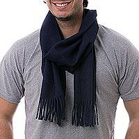 Men's 100% alpaca scarf, 'Midnight Blue' - Men's 100% alpaca scarf
