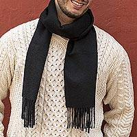 Men's 100% alpaca scarf, 'Evening Black' - Handcrafted Men's Black Alpaca Scarf