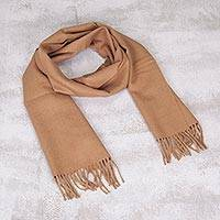 100% men's alpaca scarf, 'Desert Tan' - Men's Alpaca Scarf Woven in Peru