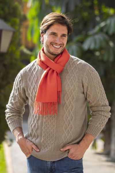 Men's 100% alpaca scarf, 'Sunset Orange' - Hand Crafted 100% Alpaca Wool Orange Scarf for Men from Peru