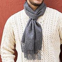 Men's 100% alpaca scarf, 'Stormy Gray'