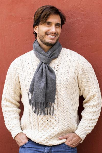 Men's 100% alpaca scarf, 'Stormy Gray' - Men's 100% alpaca scarf