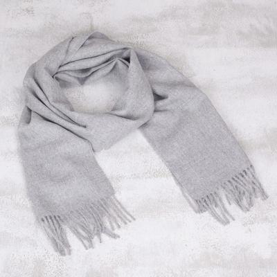 Men's 100% baby alpaca scarf, 'Silver Gray' - Hand Crafted Alpaca Wool Scarf