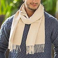 Men's 100% alpaca scarf, 'Pastel Beige' - Handwoven Fair Trade Men's Alpaca Wool Scarf