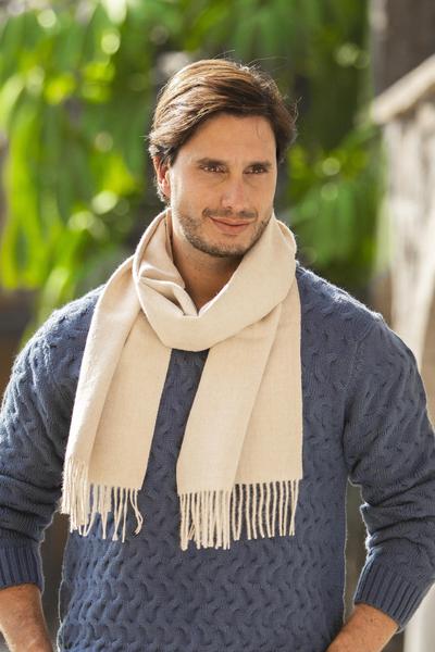 Men's 100% alpaca scarf, 'Pastel Beige' - Men's 100% alpaca scarf