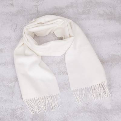 Mens 100% alpaca scarf, Frothy White
