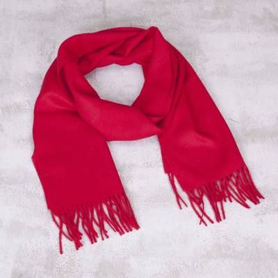 Men's 100% alpaca scarf, 'Impassioned Red' - 100% Alpaca Wool Scarf For Men