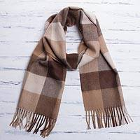 Men's 100% alpaca scarf, 'Brown Squared' - Unique Alpaca Wool Patterned Scarf