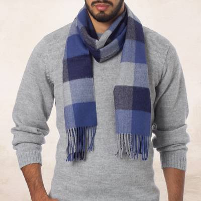 Men's 100% alpaca scarf, 'Blue, Squared' - Alpaca Wool Patterned Scarf