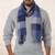 Men's 100% alpaca scarf, 'Blue, Squared' - Alpaca Wool Blue Black and Gray Patterned Alpaca Scarf (image p199904) thumbail
