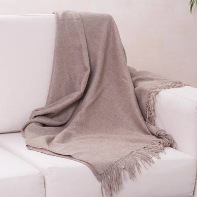 100% alpaca throw, 'Cozy Light Brown' - Hand Crafted Alpaca Wool Solid Throw